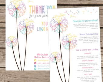 Thank You Card, Personalization, Home Office Approved, Fashion Retailer, Return/Care/Policy, Post Card, Instruction Return Exchange LLR014