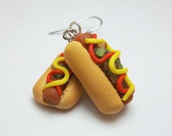 Classic Grilled Hot Dog Earrings, Ketchup, Mustard, Relish, and Onion Topping, Baseball Food, Hotdog Charm, Frankfurter, Wiener