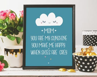 mum you're my sunshine, mothers day print, mothers day gift, cute print, doodle art, print for mum, digital print, printable art, happiness