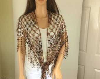 Copper brown shawl, brown shawl, crochet shawl, lightweight shawl, versatile shawl, gift for mom, holiday shawl, gift for female,