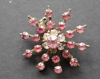 Pink starburst vintage rhinestone brooch