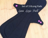 3 Extra Long Cloth Menstrual Pads/Post Partum Pad/Overnight Pad/Cloth Menstrual Pad/Reusable Pad/Incontinence Pad/Mama Cloth Pad