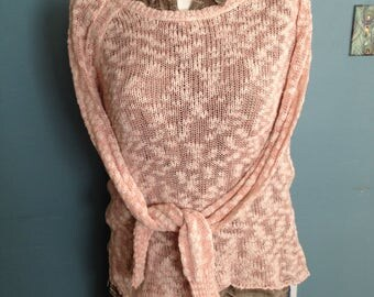 Pink pullover sweater, spring sweater, lightweight sweater, size SP sweater, Size S, long sleeve sweater, cotton sweater