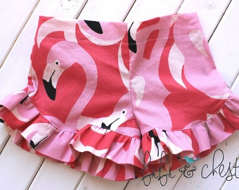 Flamingo Shorts - toddler shorts- girls shorts- summer shorts - spring shorts - pink shorts