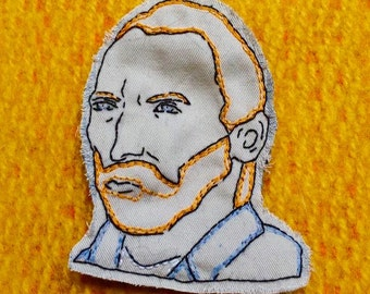 Vincent van Gogh Pin or Patch- Hand Embroidered