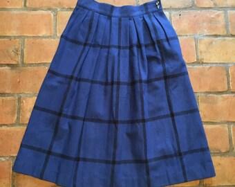 Blue Plaid Wool Skirt