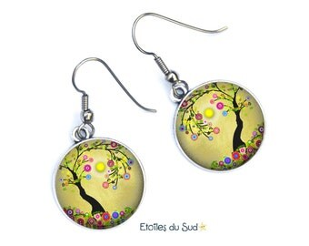 tree of life ear jackets, resin cabochon, surgical steel hooks / ref:310
