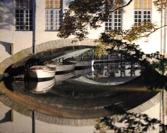 Bridge Wall Art - European Belgium Bruges Bridge Photographic Art Print Cityscape & Boat Reflections Travel Photography