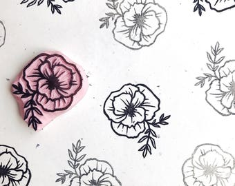 Poppy Rubber Stamp, Flower stamp, California Poppy, Floral Stamp, Hand Carved Stamp