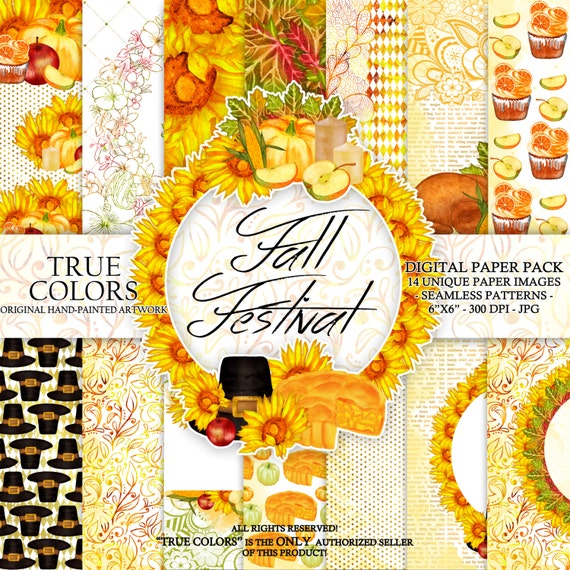 Autumn Thanksgiving Digital Paper Pack Watercolor Hand-Painted Turkey Sunflower Candle Apple Cupcake Leaves Leaf Piligrim Hat Pumpkin 6x6""