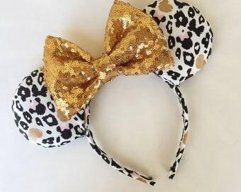 Gold Cheetah Minnie Mouse Ears