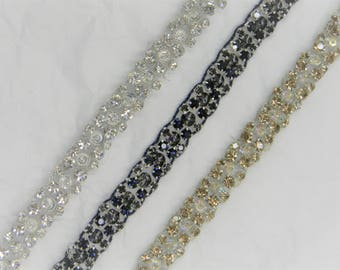 1 yard Rhinestone trim,applique trim, Bridal Applique, DIY Weddings, trim, rhinestone applique, crystal sash, bridal sash hand made #HI 1558