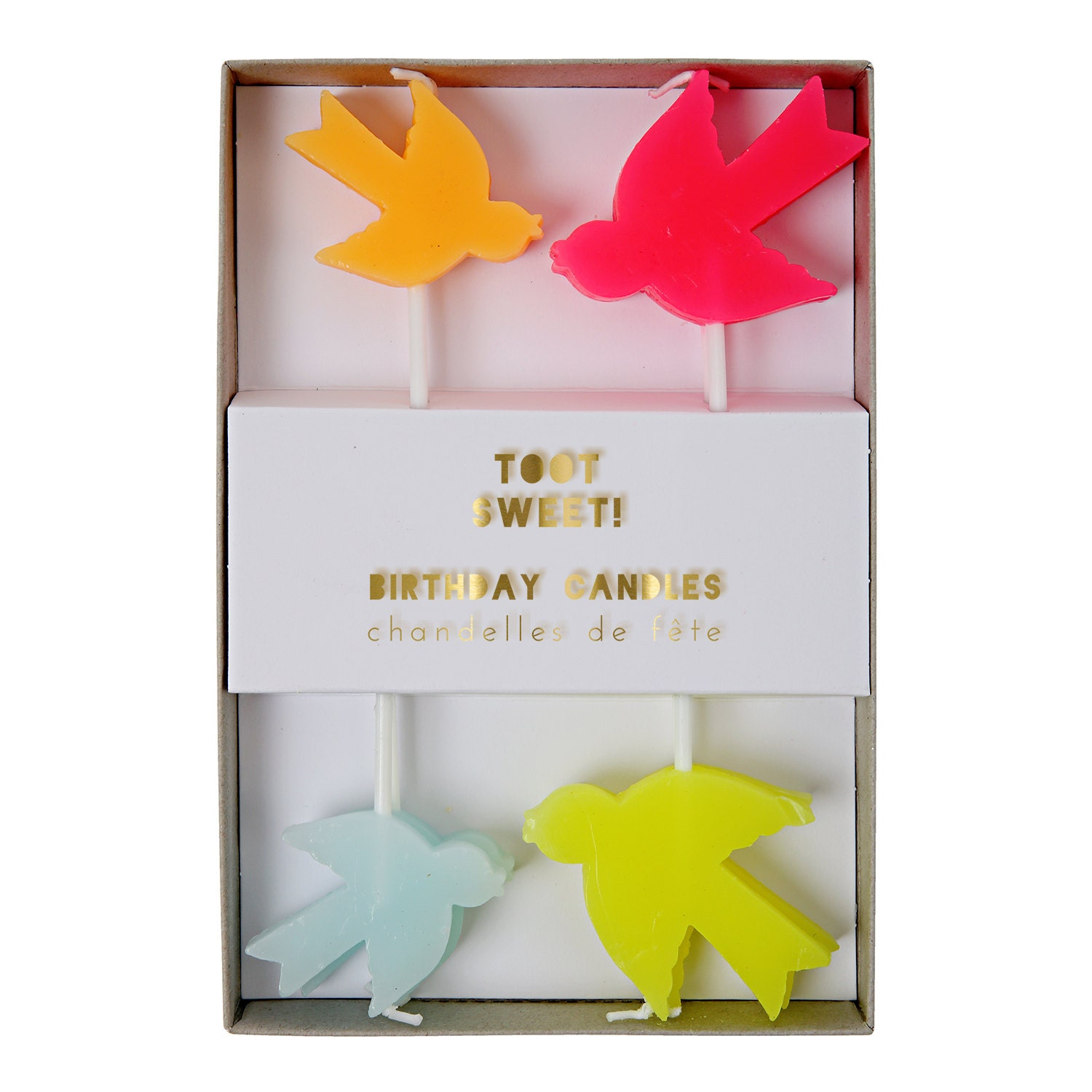 8 Birds Happy Birthday Candles Multi Coloured for Cakes