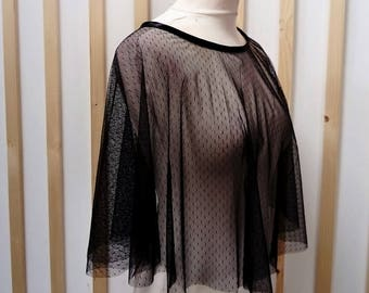 Cape in feather, poncho point of mind, black cape, black poncho