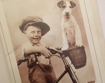 happy Birthday Son Vintage Birthday card with Wire Fox Terrier.