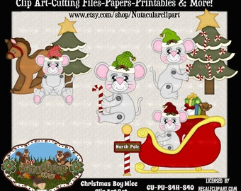 Christmas Boy Mice Clip Art - Commercial Use - Scrapbooking Clip Art - Card Making Clip Art - Christmas Clip Art Instant Download