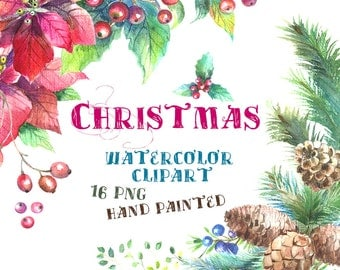 Watercolor Christmas Clipart, Christmas Wreath, Pine Wreath Clipart, Poinsettia Clipart, New Year decoration, Holly Clipart, greeting card