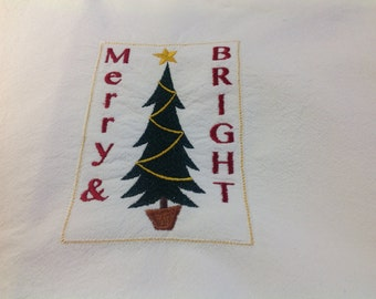 Merry & Bright flour sack dish towel