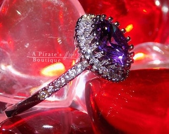 925 Sterling Silver, Amethyst and white topaz Halo ring size 7, Valentine's Day SPECIAL Gift