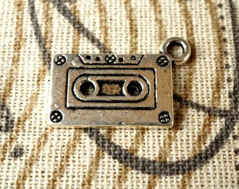 Cassette tape  5 silver charms retro style jewellery supplies C117