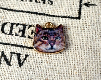 Cat face 3 charms gold jewellery supplies C172
