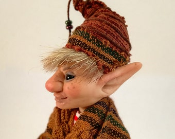 Elf OOAK art doll, gnome, troll, pixie, fairy.
