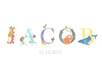 Animal Alphabet - Personalised Baby Name Print, Customised Baby Name, Nursery Wall Art