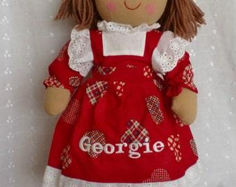 """personalised red dress rag doll christmas xmas,flowergirl,bridesmaid,birthday 40cm 16"""""""
