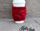 Cable Knit Coffee Cozy - Buttoned Coffee Sleeve - Knitted Coffee Cozy - Buttoned Coffee Cozy - Handmade Coffee Sleeve - Travel Mug Sleeve