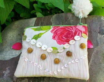 Gypsy Rose Sparkle Soul - one of a kind zipper pouch - pom pom lined sequins beads cotton linen - Handmade in USA