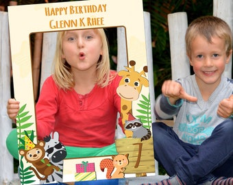 Large Personalized safari Birthday photo booth Frame Prop,jungle Selfie Frame, zoo birthday, animal Party, zoo photo booth props; 10011109