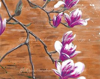 "Printable Illustration, Home Decor, Wall Decor Art Acrylic Painting, Instant Download ""Magnolia"""