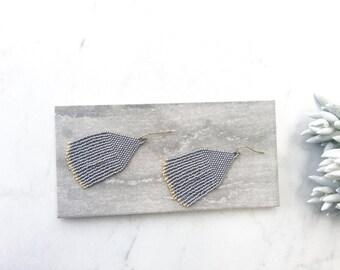 Tassel and Fringe Earrings, Beaded Earrings, Gold Earrings, Boho Jewelry, Gift for Her, Anthropologie Inspired, Minimalist Earrings