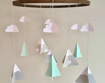 Mountain baby mobile, woodland mobile, camping mobile,tree cloud mobile, mint baby, adventure, gender neutral, nature mobile