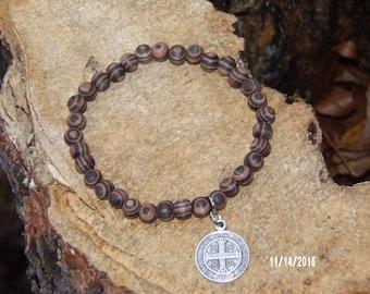 N403 Wood Braclet with miraculous charm