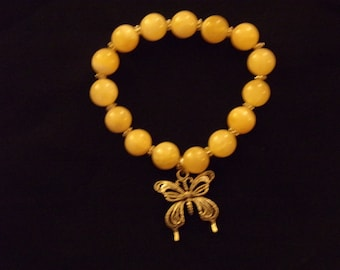 N404 Yellow Glass  Bracelet with butterfly or Heart charm