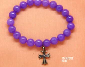 B1280 Medium Amethyst Beaded Bracelet with Cross Charm