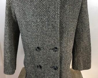 Mackintosh Made in USA Herringbone coat jacket Peacoat 100% WOOL Womens size 12