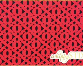 XO Fabric By the Yard, Love is All Around by Maria Kalinowski Kanvas Hugs & Kisses 4908, BTY Black Red XOXO Letters Cotton Quilting Material