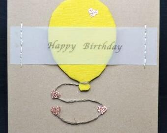 Happy Birthday Yellow Balloon on Brown Card