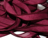 "42"" CRANBERRY by Color Burst Silk//Made to Order Hand Dyed Silk Wrist Wrap Bracelet Ribbon/Wrist Wrap Bracelet Ribbon//42""Silk Wrap Ribbon"
