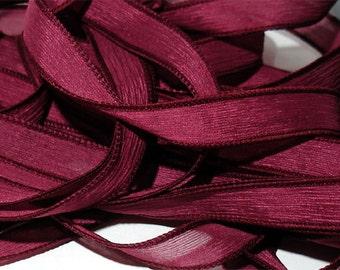 """1PC. CRANBERRY 42"""" hand dyed wrist wrap bracelet silk ribbon//Yoga wrist wrap bracelet ribbons//Hand dyed Boho Silk wrist wrap ribbon"""