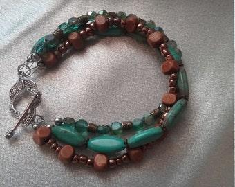 3 strand turquoise, wood and crystal beaded bracelet