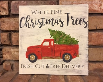 Red Christmas tree truck sign,rustic christmas signs, retro christmas, christmas tree truck, red truck, holiday signs, holiday decor