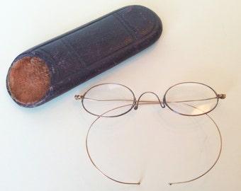 Early 1900's Vintage Eyeglasses with Original Case, 2 PCS