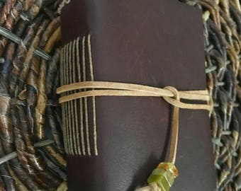 Small, Extra-Thick Deep Brown Leather Journal with Recycled Artist Paper, Leather Lace closure and Flower Jade Beads