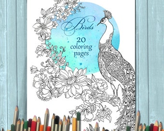 20 Coloring Pages Book Birds For Adults And Children INSTANT DOWNLOAD