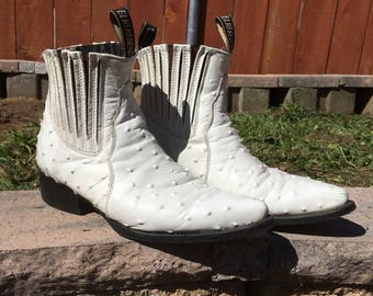White Ostrich Skin Chelsea Boots, Men's 9 1/2