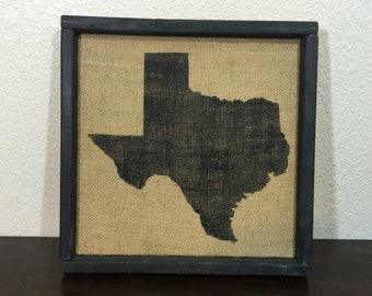"""Texas silhouette sign on reclaimed burlap sign with rustic shadow-box style frame 13.5""""x13.5"""""""