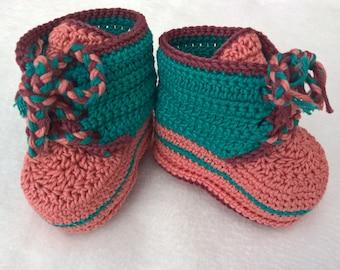 6797d3134c8e6b Crochet PATTERN Baby booties. Baby sneakers pattern. Baby shoes crochet  pattern. Orange and Green Booties. INSTANT DOWNLOAD